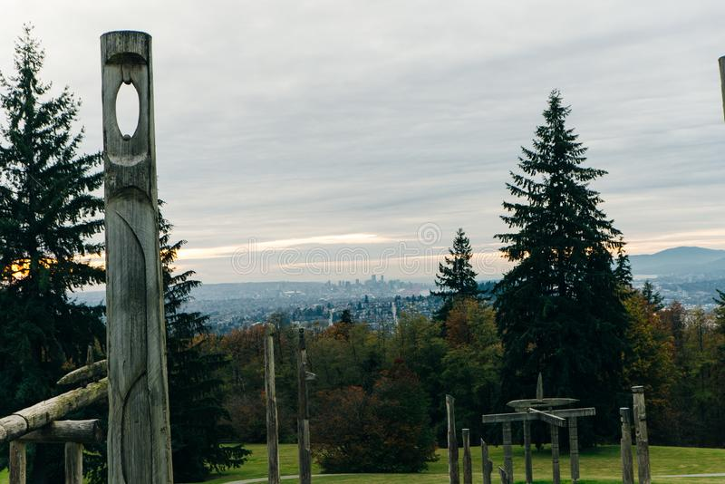 Burnaby Mountain Totem pole Vancouver, canada.  royalty free stock image