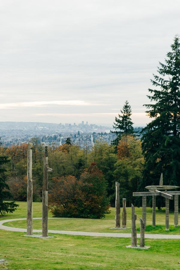 Burnaby Mountain Totem pole Vancouver, canada.  stock photo