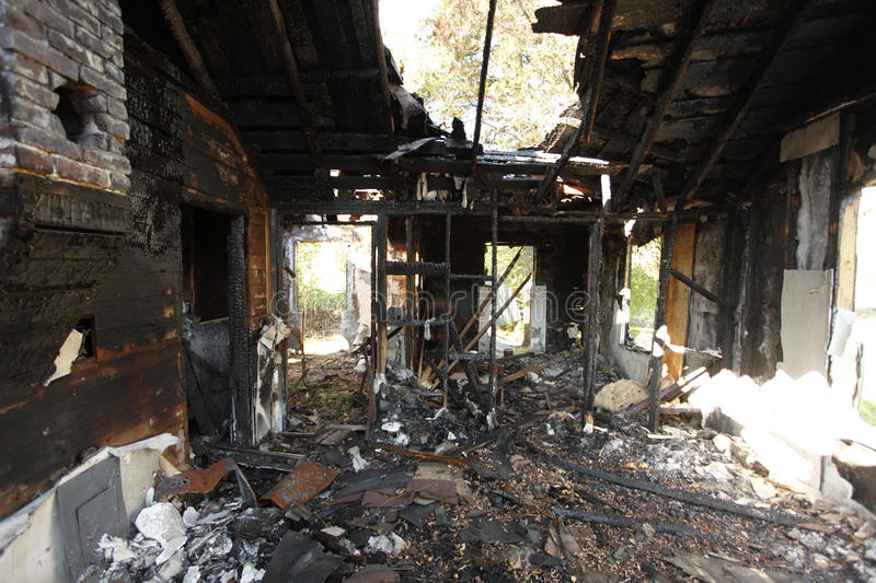 Burned and abandoned house royalty free stock photography