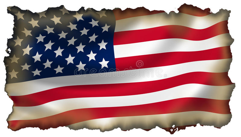 Burned American flag isolated royalty free stock photos