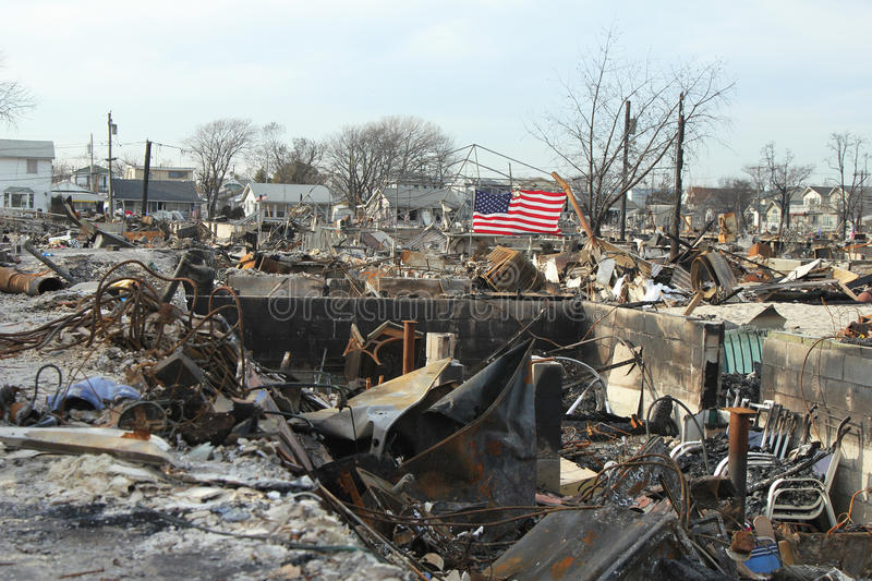 Burned houses in the aftermath of Hurricane Sandy in Breezy Point, NY royalty free stock photography