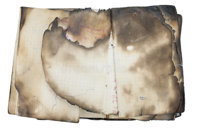 Burned old notebook stock photography
