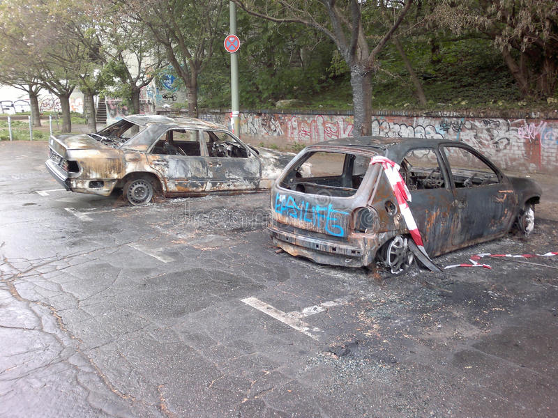 Burned out cars in Berlin royalty free stock image