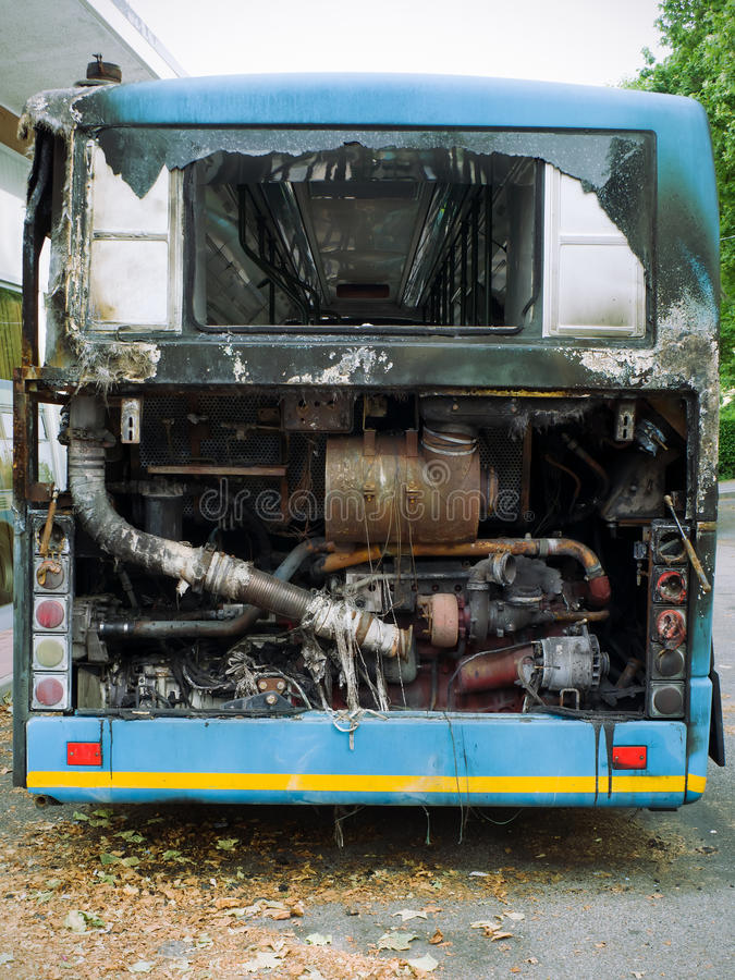 Download Burned out city bus stock photo. Image of damaged, fire - 25596326