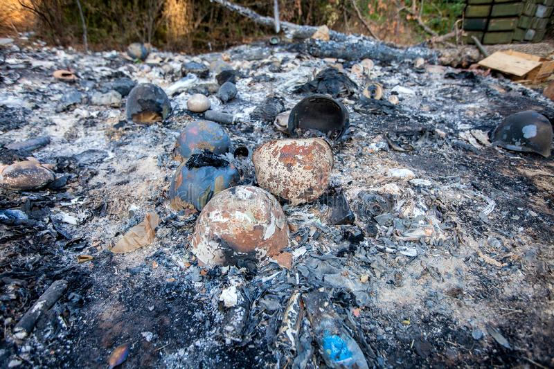 Burned-out military ammunition, War actions aftermath, Ukraine and Donbass conflict stock images