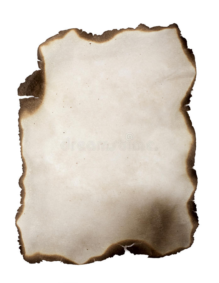 Burned paper. Isolated on a white background royalty free stock photo