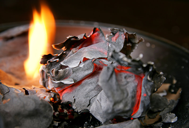 Burned paper and fire stock photos