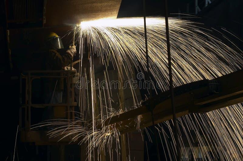 Burner. Under ship at night stock photography