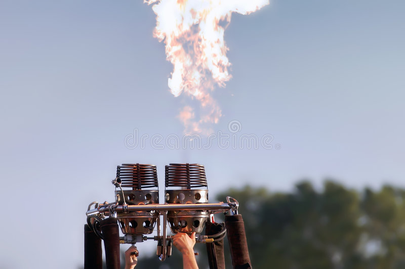 Burners in action. Burners for hot balloon in action royalty free stock photo