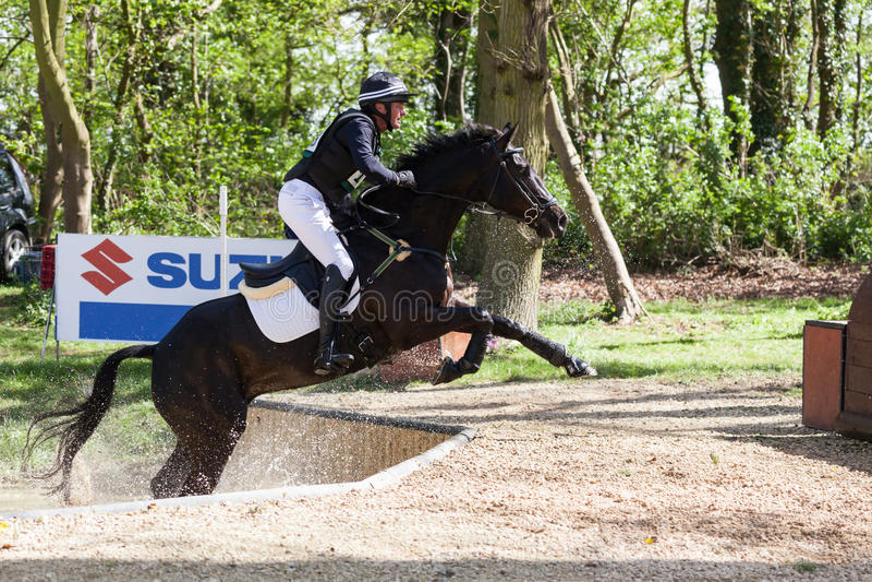 Burnham Market international horse trials 2017. BURNHAM MARKET, NORFOLK/ENGLAND - APRIL 15th 2017: Burnham Market International Horse Trials 2017 cross country stock photo