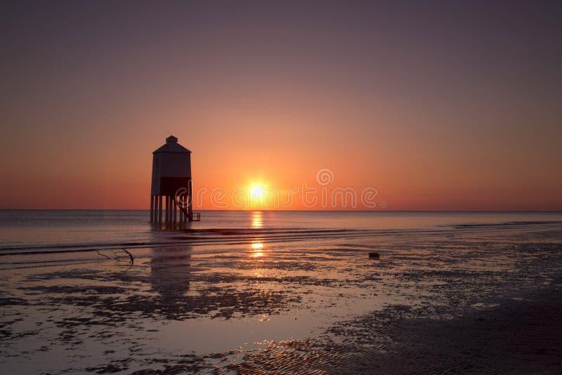 Burnham no por do sol do mar fotos de stock