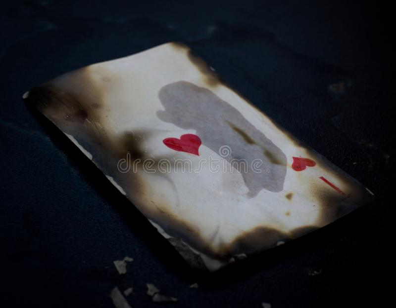 Burning ace ace of hearts abstract royalty free stock photos