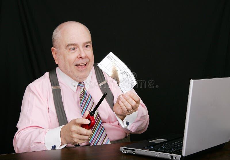burning affärskontrollman arkivfoton