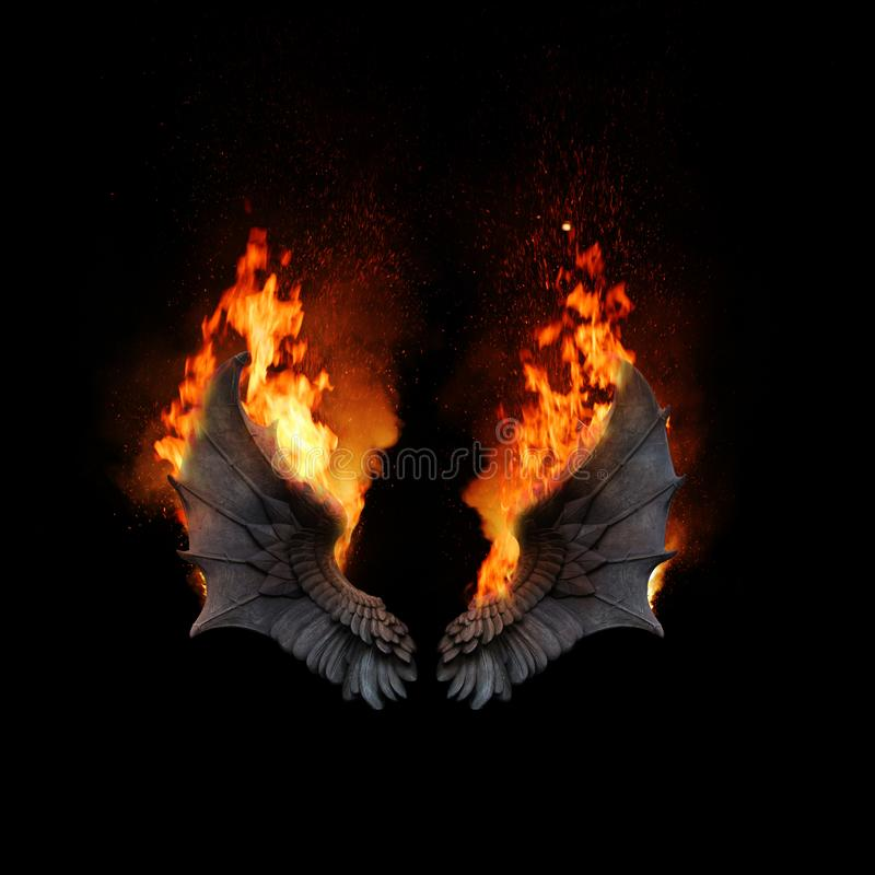 Free Burning Angel Dragon Wings, Dark Atmospheric Mood, Fantasy Background Royalty Free Stock Image - 161013446