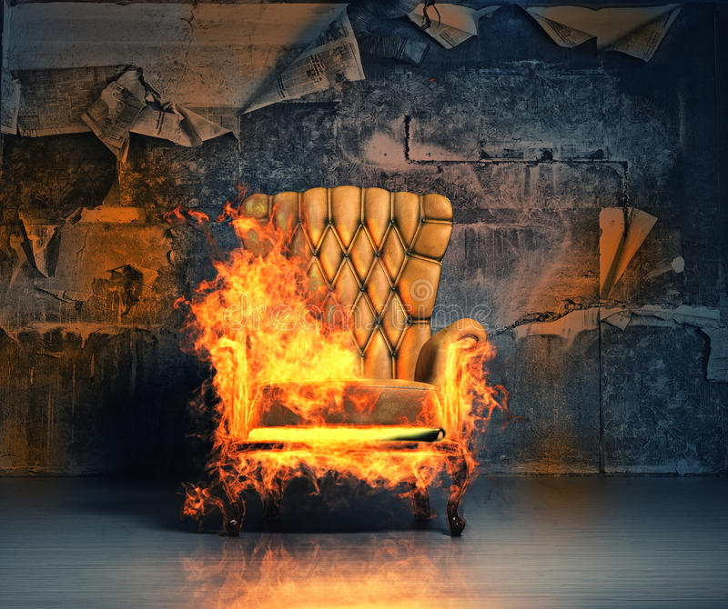 Burning armchair royalty free illustration