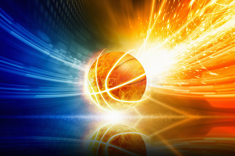 Background Abstract Sport Volleyball Blue Yellow Ball: Burning Basketball Stock Photo