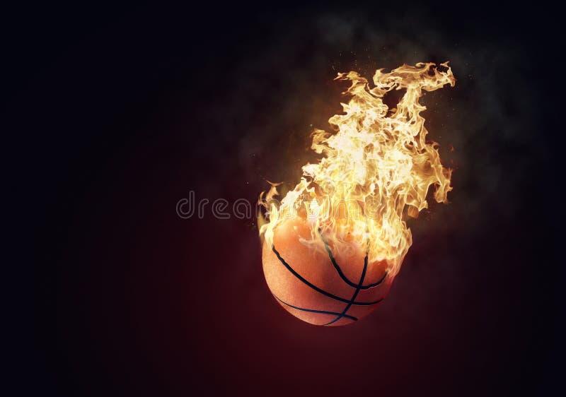 Burning basketball stock photography