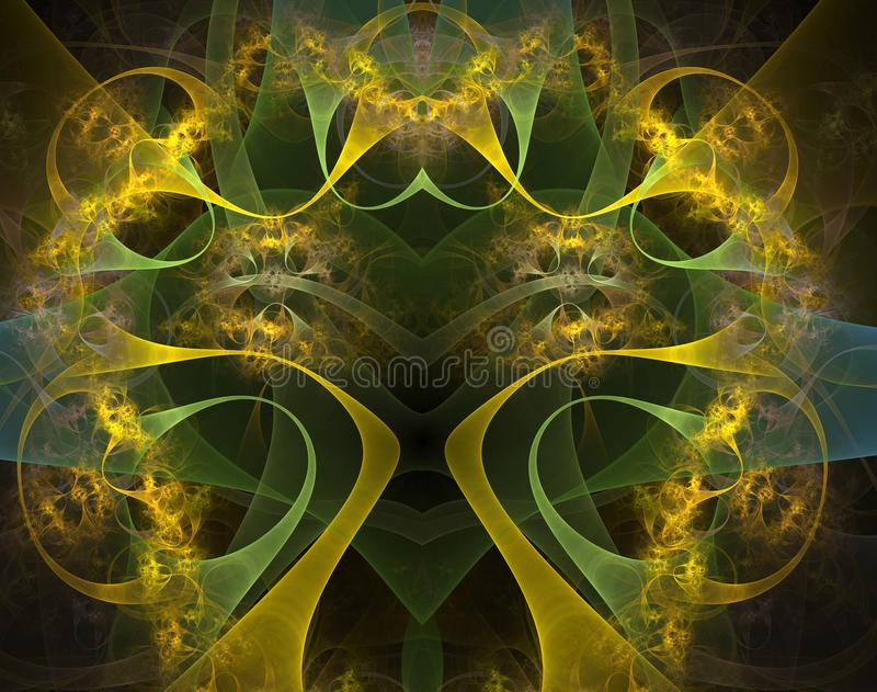 Burning and beating heart. Lacy valentine`s day motive, fractal heart, digital art stock illustration