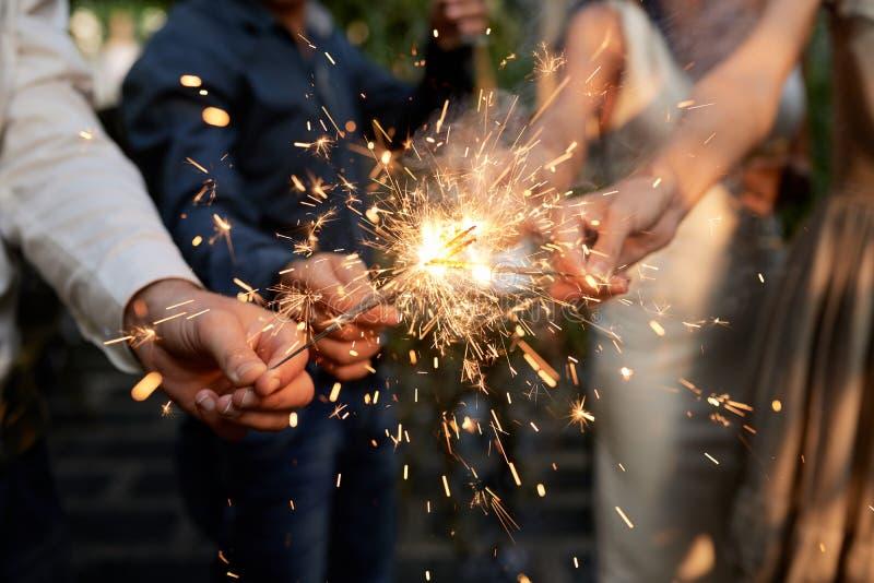 Burning Bengal lights royalty free stock photos