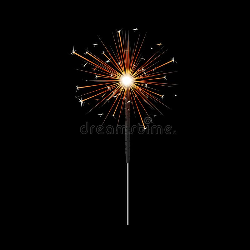 Burning bengal sparkler with bright light vector illustration