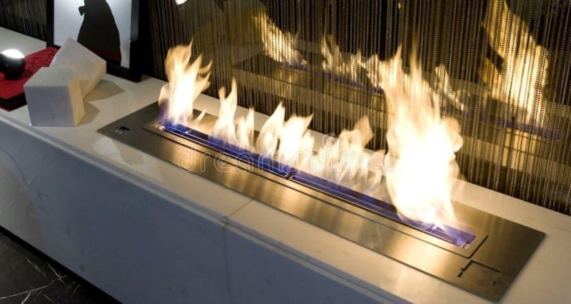 Burning bio ethanol fireplace stock photo