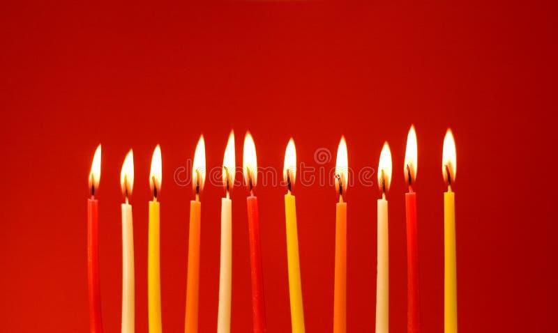 Burning birthday candles stock image