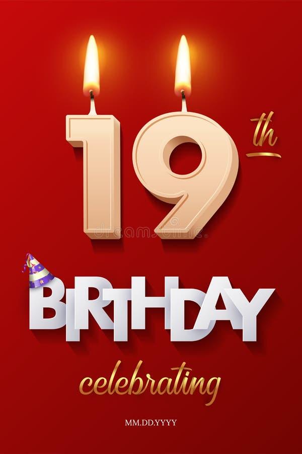 Burning Birthday-kaarsen in de vorm van nummer 19 en Happy Birthday-feestelijke tekst met een feestelijke stok geïsoleerd op vector illustratie