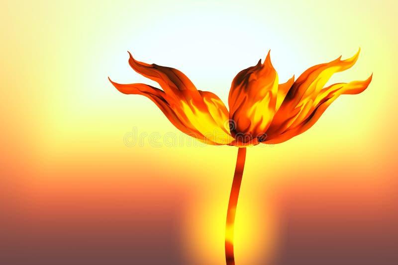 Burning blomma royaltyfri illustrationer