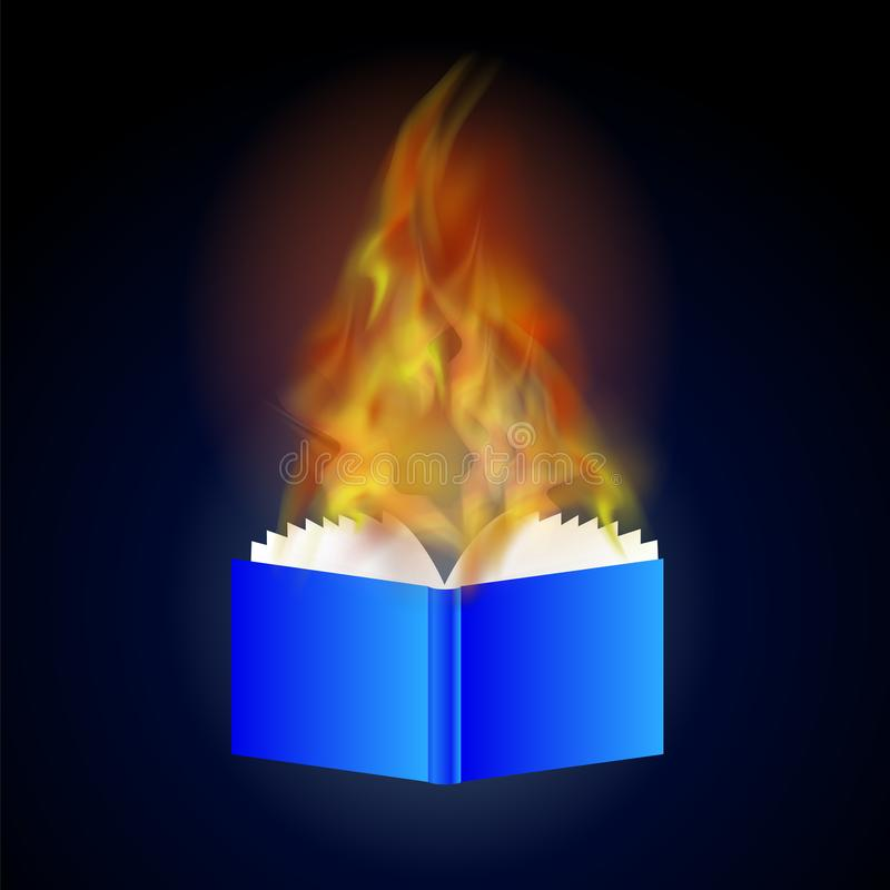Burning Blue Paper Book with Fire Flame. On Blue Background stock illustration