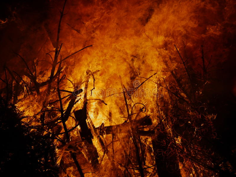 Burning bonfire royalty free stock images