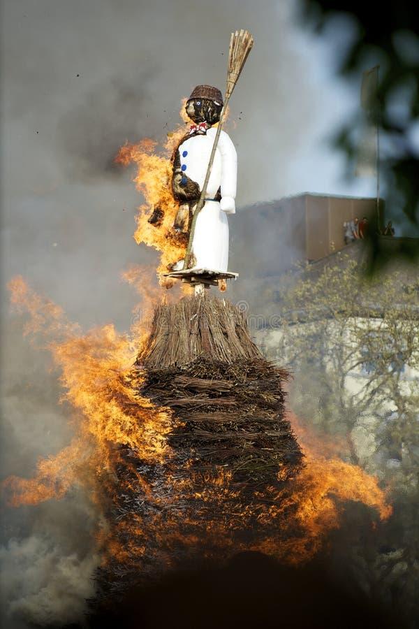 Burning Boogg at Sechselauten, Zurich stock photography