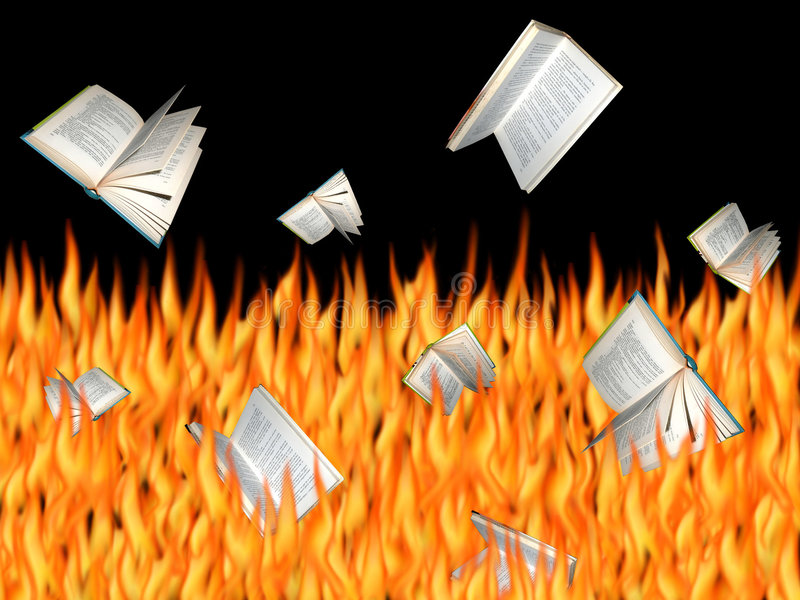Burning Books royalty free stock image