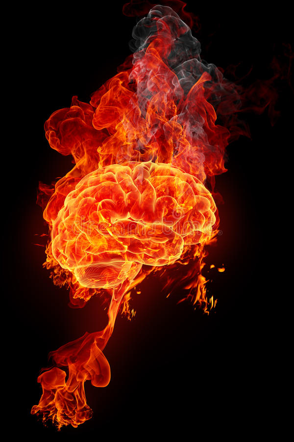 Burning brain. Fire and smoke on the black background