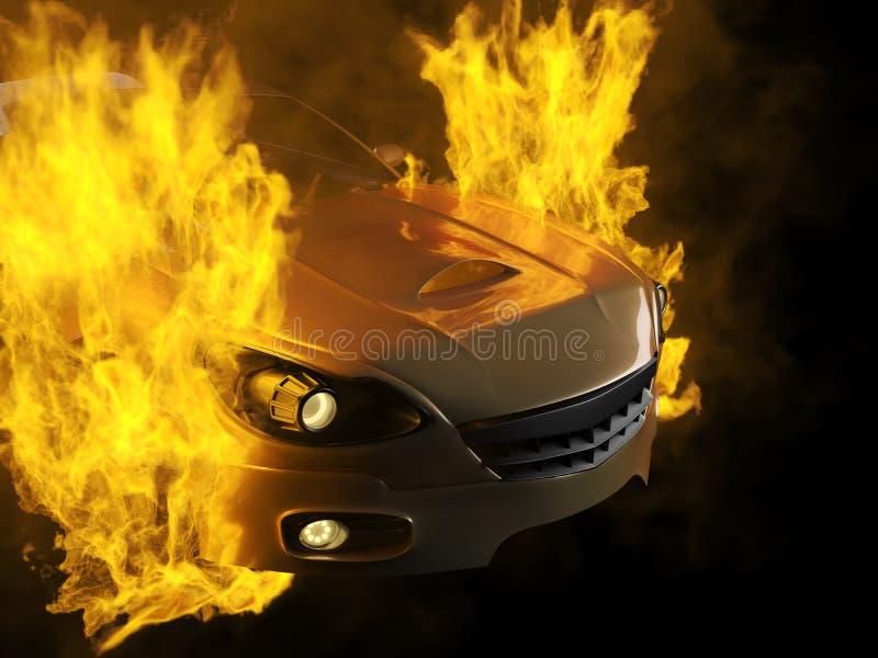 Burning brandless sport car royalty free stock image