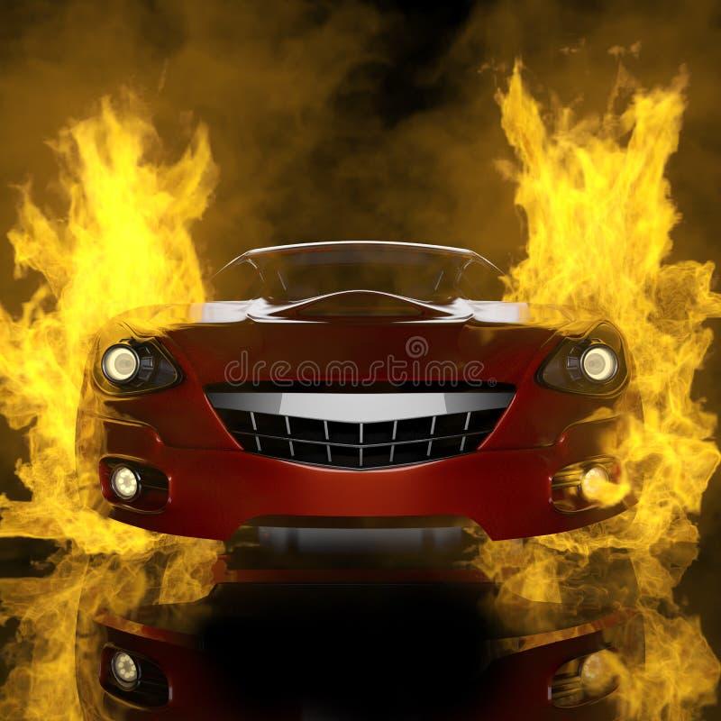 Burning brandless sport car stock image