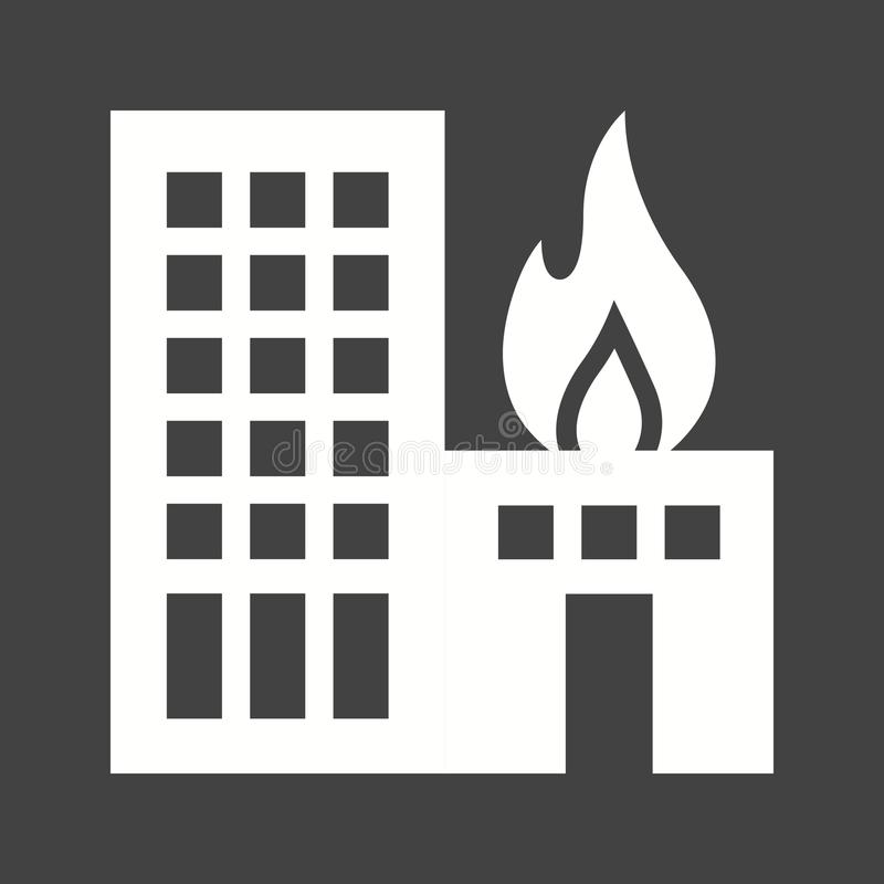 Burning Building. Fire, building, heat icon vector image. Can also be used for firefighting. Suitable for mobile apps, web apps and print media stock illustration