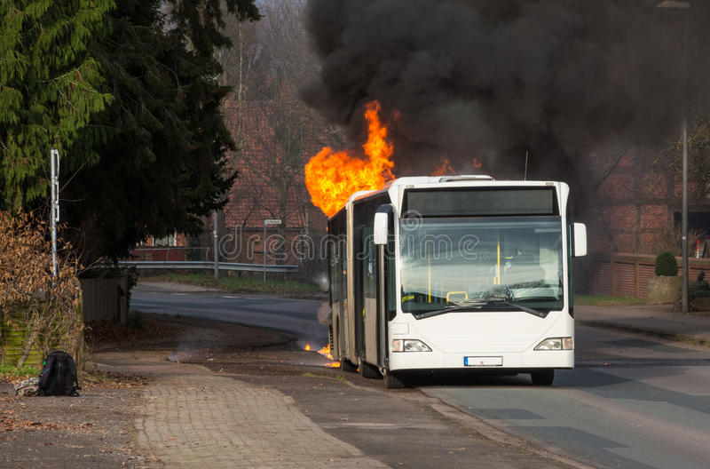 Download Burning bus stock photo. Image of lower, fire, nienburg - 36065134