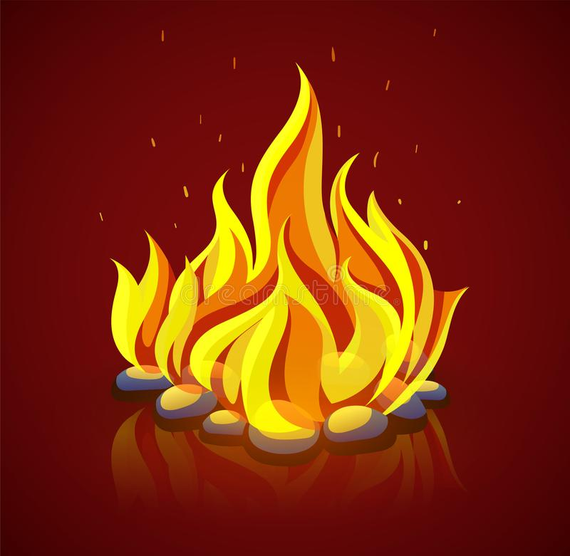 Burning campfire with fire on coal stones. Vector illustration. royalty free stock images