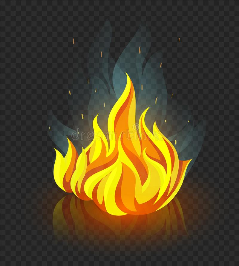 Burning campfire with fire on coal stones. Vector illustration. stock photography