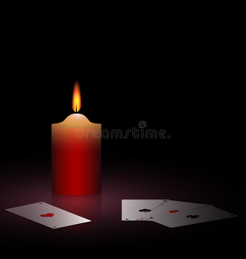 Burning Candle And Cards Royalty Free Stock Photography