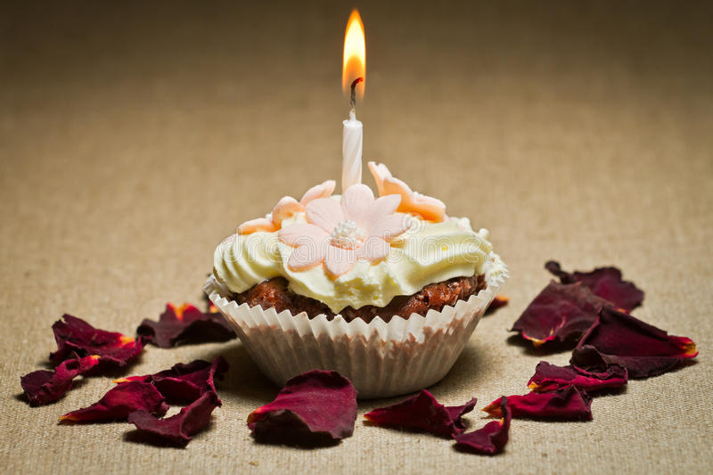 Burning candle on chocolate muffin royalty free stock images