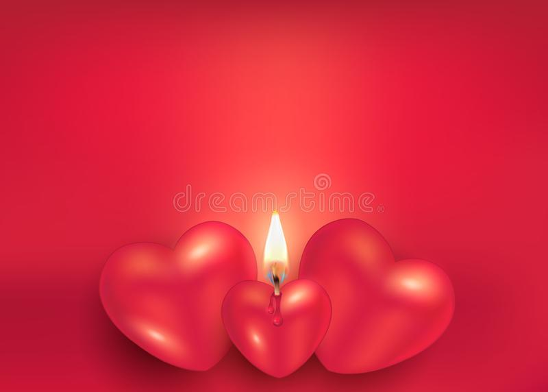 Burning candle heart on red greeting card to happy Valentine`s Day for love stock illustration