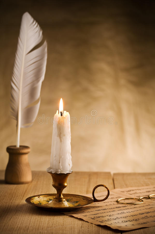 Free Burning Candle In Vintage Candlestick Royalty Free Stock Photo - 21031435