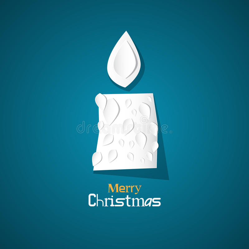Burning Candle Made from Paper on Blue Background. Vector Merry Christmas Theme - Burning Candle Made from Paper on Blue Background stock illustration