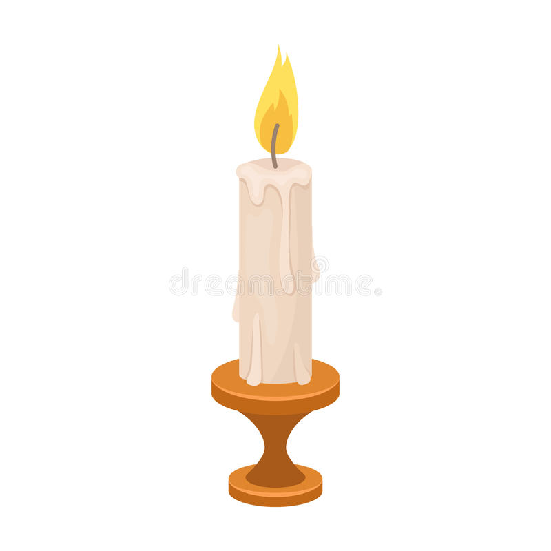 Burning candle from paraffin wax. Easter single icon in cartoon style vector symbol stock illustration. stock illustration