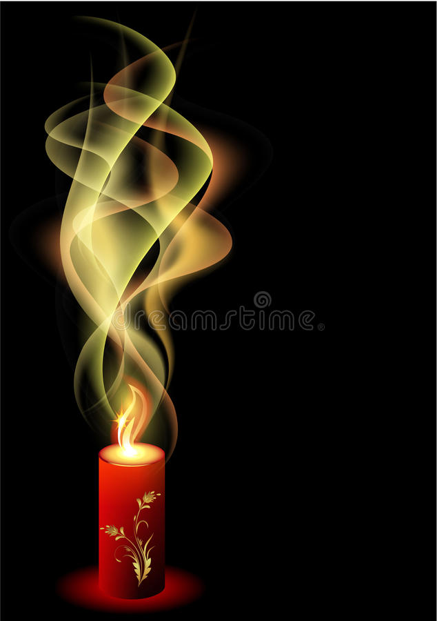 Burning candle with smoke vector illustration