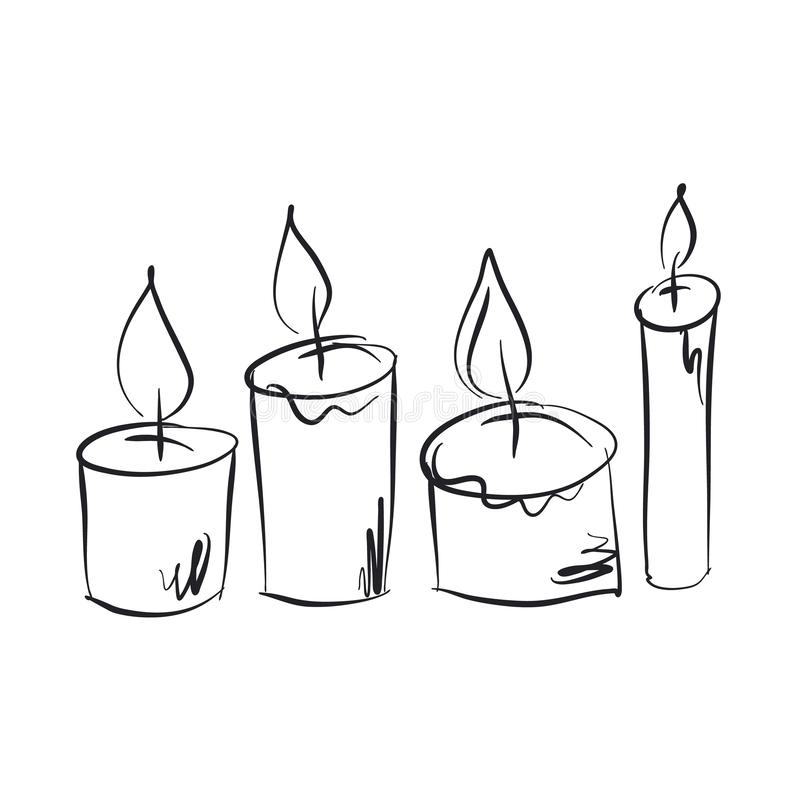 Burning candles hand drawn illustrations set vector illustration