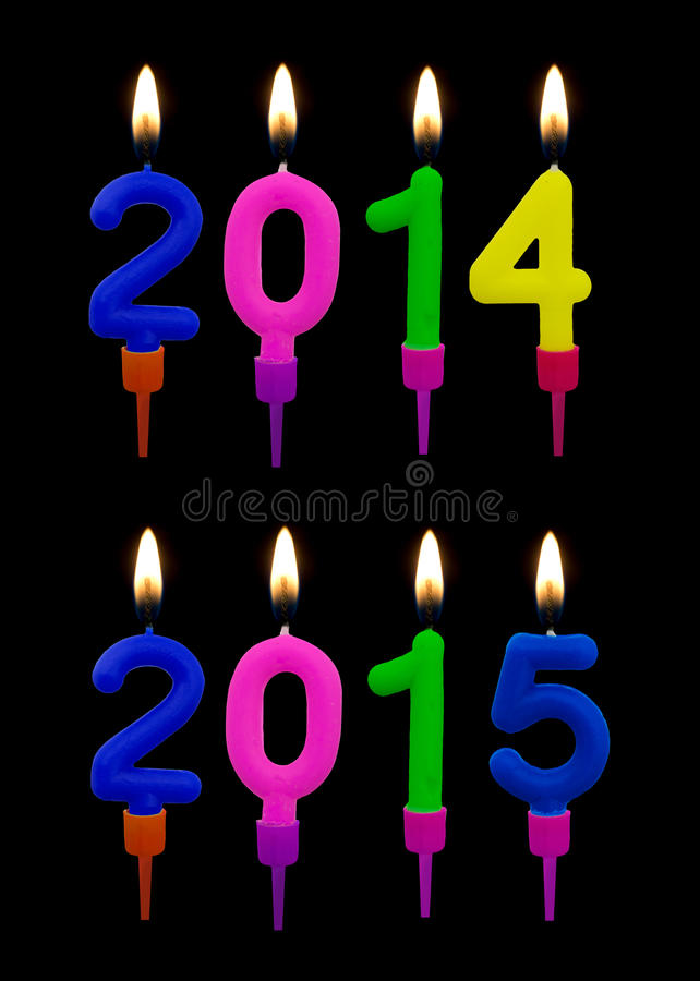 Burning candles 2014, 2015. royalty free stock images