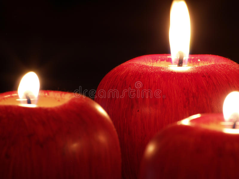 Apple candles stock image