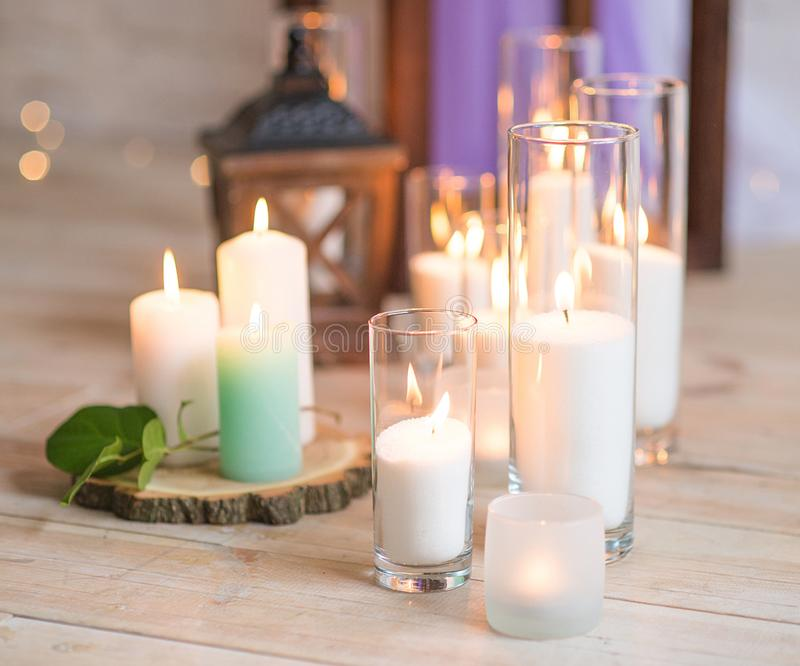Burning Candles In Transparent Glass Vases Stock Image Image Of